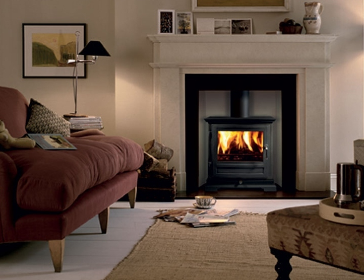 Compact Efficent Wood Stove On Custom Fireplace Mobile